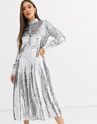 Neon Rose Midi Shirt Dress With Full Skirt In Sequin Silver