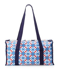 Malabar Bay Catalina Chain Print Canvas Duffel Bag Blue