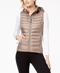 32 Degrees Hooded Packable Puffer Vest Taupe