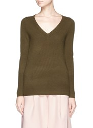 J.Crew Collection Cashmere V Neck Sweater Green
