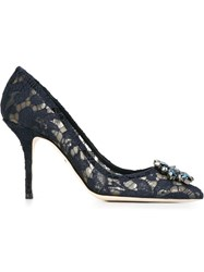Dolce And Gabbana Embellished Lace Pumps Blue