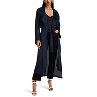 Juan Carlos Obando Georgette High Low Trench Coat Navy