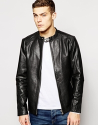 Jack And Jones Jack And Jones Leather Jacket With Collar Detail Black