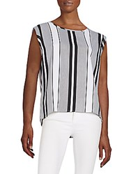 Romeo And Juliet Couture Striped Back Cutout Top Black White