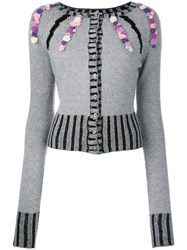 Olympia Le Tan Cashmere Embellished Cardigan Women Cashmere M Grey