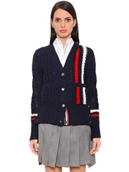 Thom Browne Striped Merino Wool Cable Knit Cardigan