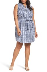 Foxcroft Plus Size Women's Adele Crinkle Gingham Shirtdress Navy