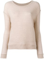 Majestic Filatures Ribbed Trim Jumper Nude Neutrals