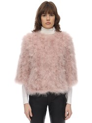 Yves Salomon Cropped Sleeve Feather Jacket Pink