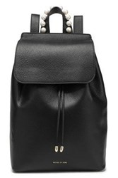 Mother Of Pearl Woman Lola Faux Embellished Textured Leather Backpack Black