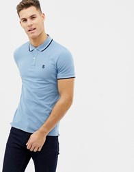 Selected Homme Polo With Tipping Blue