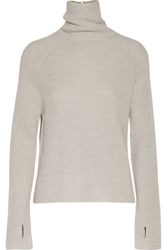 Kaufman Franco Kaufmanfranco Ribbed Wool And Metallic Silk Turtleneck Sweater Light Gray