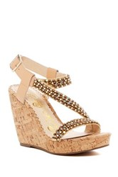 Naughty Monkey Sugar Rush Embellished Platform Wedge Sandal Brown