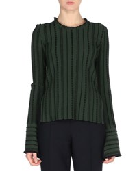 Fendi Stitched Long Sleeve Sweater Green Black Green Black