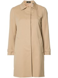 Theory Single Breasted Coat Nude Neutrals