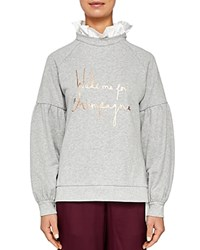 Ted Baker Says Relax Kinslie Champagne Logo Layered Look Sweatshirt Light Gray