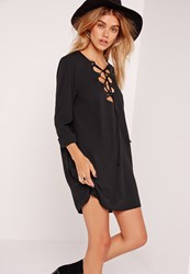Missguided Scallop Front Lace Up Shift Dress Black Black