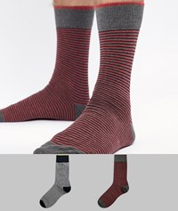 Selected Homme 2 Pack Stripe Socks D Saph B Aster Multi