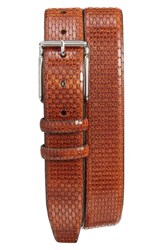 Torino Belts Men's Big And Tall Geometric Calfskin Belt Cognac