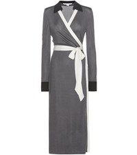 Diane Von Furstenberg Cybil Two Wrap Dress Grey