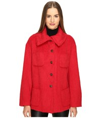 Manila Grace Funnel Neck Jacket Red Women's Coat