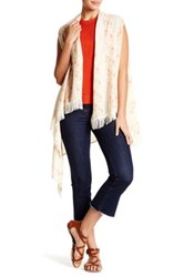 David And Young Lace Inset Floral Tunic Wrap Beige