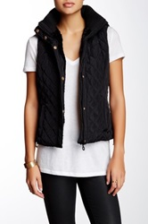 Coalition La Bundle Up Faux Fur Lined Hooded Vest Black