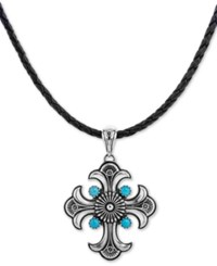 American West Turquoise Cross Braided Leather Pendant Necklace 1 3 4 Ct. T.W. In Sterling Silver 16 2 Extender