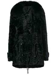 Yves Salomon Trim Coat Black