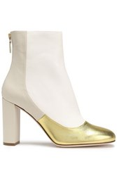 M Missoni Metallic Paneled Leather Ankle Boots Gold