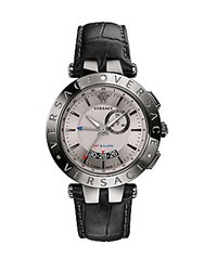 Versace V Race Gmt Alarm Stainless Steel And Leather Strap Watch Black
