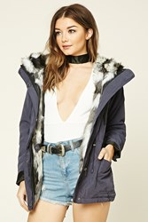 Forever 21 Faux Fur Lined Parka Navy Grey