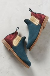 Anthropologie Penelope Chilvers Safari Ankle Boots Blue Motif