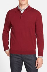 Men's Big And Tall Nordstrom Merino Wool Polo Sweater Red Rosewood