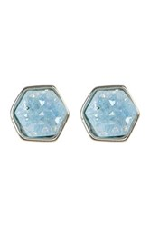 Melrose And Market Hexagon Druzy Stud Earrings Blue