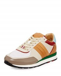 Bally Ascar Colorblock Leather Sneaker Beige