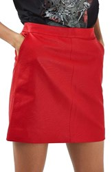 Topshop Petite Women's Faux Leather Pencil Skirt Red