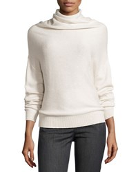 Brunello Cucinelli Long Sleeve Paillette Cowl Neck Sweater Ivory