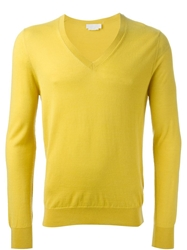 Alexander Mcqueen V Neck Sweater Yellow And Orange