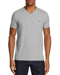 Lacoste V Neck Tee Army Green White