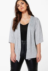 Boohoo Plus Julia Shimmer Knitted Cardigan Silver