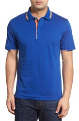 Men's Robert Graham 'Kenric' Mixed Jersey And Pique Polo Cobalt