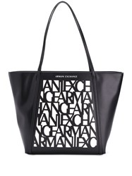 Armani Exchange Monogram Tote Bag Black