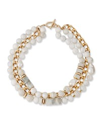 Akola Pearl Leather And Moonstone Triple Strand Necklace White