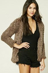 Forever 21 Fuzzy Knit Jacket Cocoa
