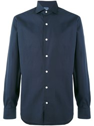 Barba Simple Shirt Men Linen Flax 41 Blue