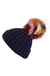 Jocelyn Women's 'Super Swirl' Knit Beanie With Genuine Fox Fur Pom Blue Navy