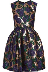 Msgm Metallic Floral Brocade Mini Dress Purple