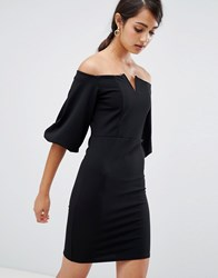 Girls On Film Bardot Dress With Frill Sleeve Detail Black