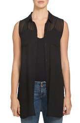 1.State Women's Sheer Yoke Sleeveless Tunic Rich Black